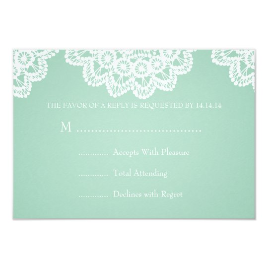 Elegant Wedding RSVP Vintage Lace Mint Green Card