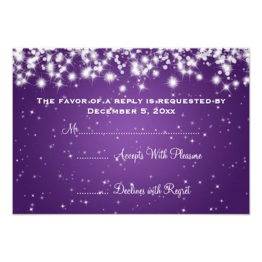 Elegant Wedding RSVP Winter Sparkle Purple Custom Invite