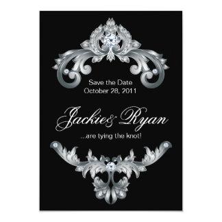 Elegant Wedding Save the Date Black White 13 Cm X 18 Cm Invitation Card