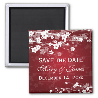 Elegant Wedding Save The Date Cherry Blossom Red Square Magnet