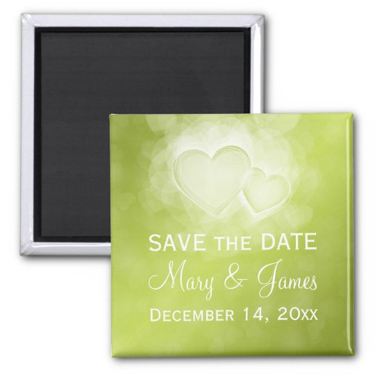 Elegant Wedding Save The Date Modern Hearts Green Square Magnet