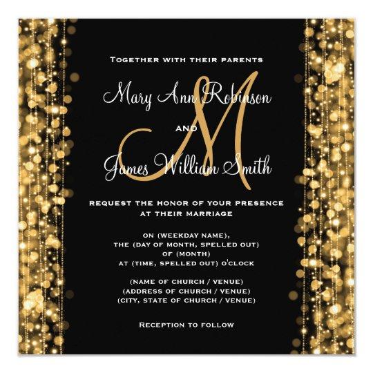 Elegant Wedding Save The Date Sparkles Gold Card
