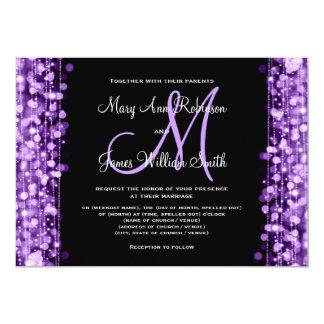 Elegant Wedding Save The Date Sparkles Purple Card