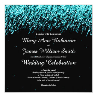 Elegant Wedding Save The Date Stars Turquoise Card