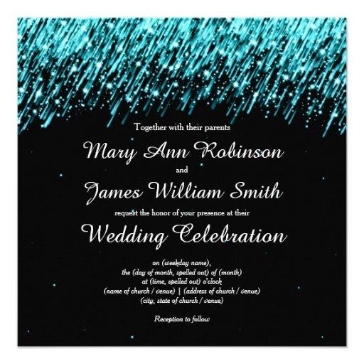 Elegant Wedding Save The Date Stars Turquoise Custom Invites