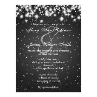 Elegant Wedding Save The Date Winter Sparkle Black 17 Cm X 22 Cm Invitation Card