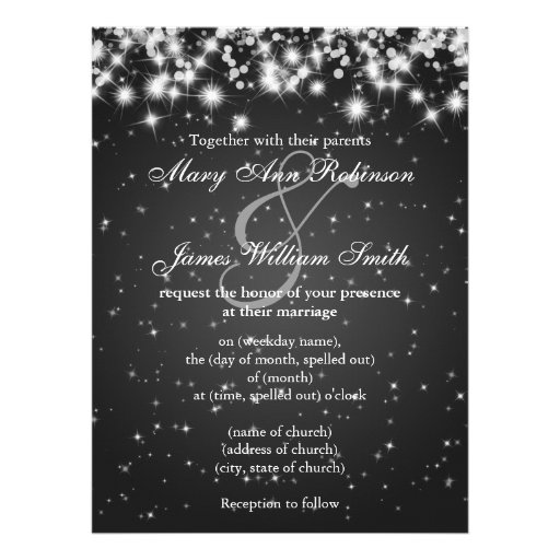 Elegant Wedding Save The Date Winter Sparkle Black Custom Invitation