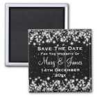 Elegant Wedding Save The Date Winter Sparkle Black Magnet