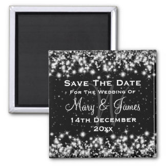 Elegant Wedding Save The Date Winter Sparkle Black Square Magnet