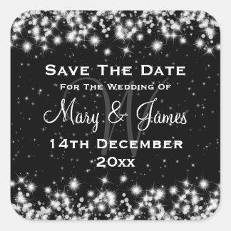 Elegant Wedding Save The Date Winter Sparkle Black Square Sticker