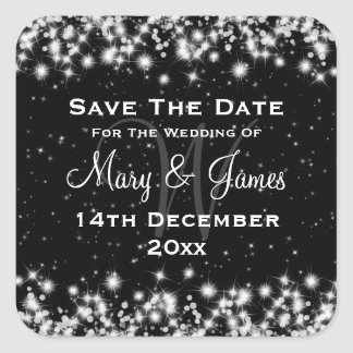 Elegant Wedding Save The Date Winter Sparkle Black Square Stickers