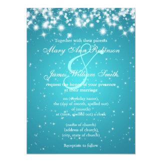 Elegant Wedding Save The Date Winter Sparkle Blue 17 Cm X 22 Cm Invitation Card