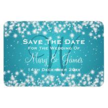 Elegant Wedding Save The Date Winter Sparkle Blue Rectangular Photo Magnet