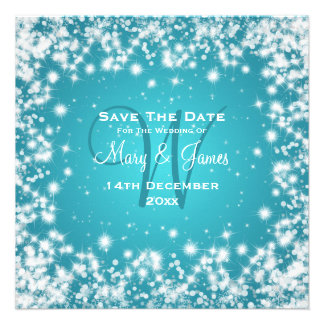 Elegant Wedding Save The Date Winter Sparkle Blue Personalized Announcements