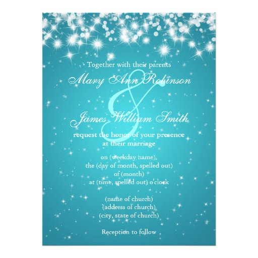 Elegant Wedding Save The Date Winter Sparkle Blue Personalized Invites