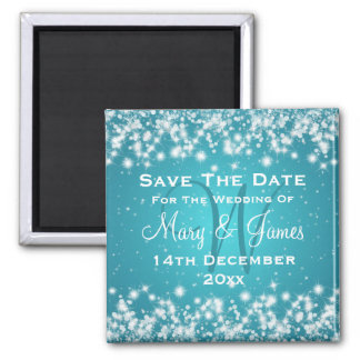 Elegant Wedding Save The Date Winter Sparkle Blue Square Magnet