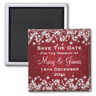 Elegant Wedding Save The Date Winter Sparkle Red Square Magnet