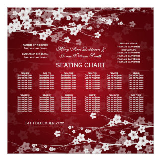 Elegant Wedding Seating Chart Cherry Blossom Red