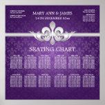 Elegant Wedding Seating Chart Fleur De Lis Purple