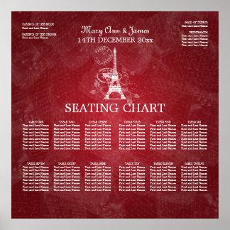 Elegant Wedding Seating Chart Paris Red Print