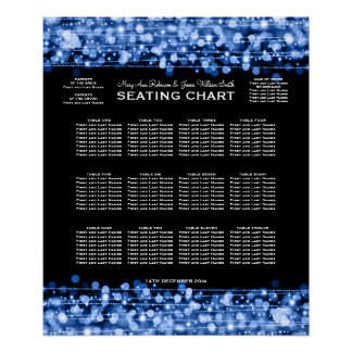 Elegant Wedding Seating Chart Party Sparkles Blue Poster