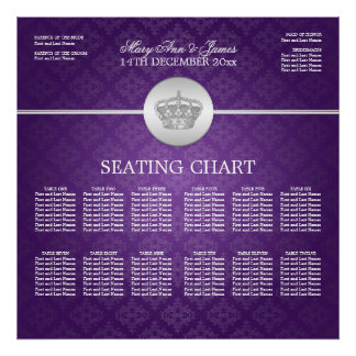 Elegant Wedding Seating Chart Royal Crown Purple Poster