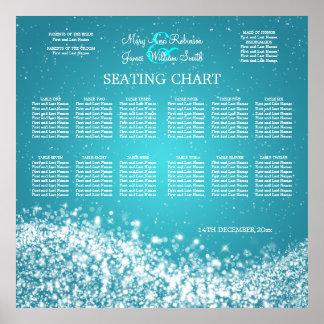 Elegant Wedding Seating Chart Sparkling Wave Blue Poster