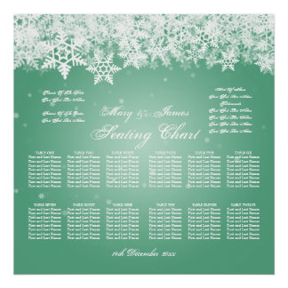 Elegant Wedding Seating Chart Winter Snow Mint
