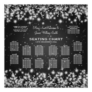 Elegant Wedding Seating Chart Winter Sparkle Black Poster