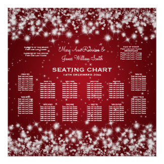 Elegant Wedding Seating Chart Winter Sparkle Red Poster