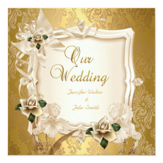 Elegant Wedding Sepia Cream Gold Roses 13 Cm X 13 Cm Square Invitation Card