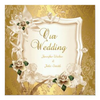 Elegant Wedding Sepia Cream Gold Roses 13 Cm X 13 Cm Square Invitation Card