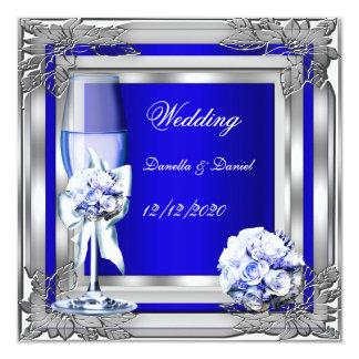 Elegant Wedding Silver Blue Floral Roses 13 Cm X 13 Cm Square Invitation Card