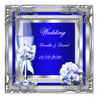 Elegant Wedding Silver Blue Floral Roses Card