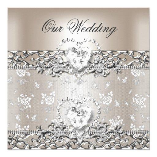 Elegant Silver Wedding Invitations: Elegant Wedding Silver Cream Diamond Heart Custom