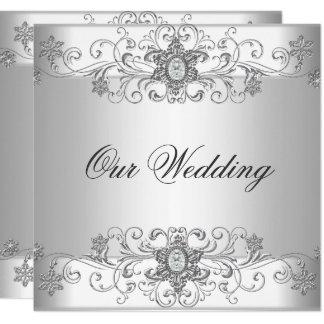 Elegant Wedding Silver White Diamond Jewel Card