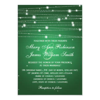 Elegant Wedding Sparkling Lines Emerald Green Card
