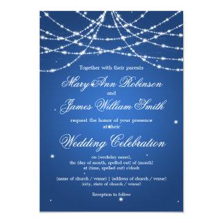 Elegant Wedding Sparkling String Blue 13 Cm X 18 Cm Invitation Card