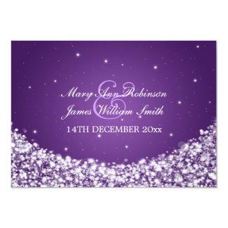 Elegant Wedding Star Sparkle Purple 13 Cm X 18 Cm Invitation Card