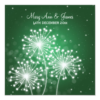 Elegant Wedding Summer Sparkle Emerald Green 13 Cm X 13 Cm Square Invitation Card