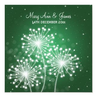 Elegant Wedding Summer Sparkle Emerald Green 5.25x5.25 Square Paper Invitation Card