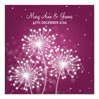 Elegant Wedding Summer Sparkle Merlot Pink 13 Cm X 13 Cm Square Invitation Card