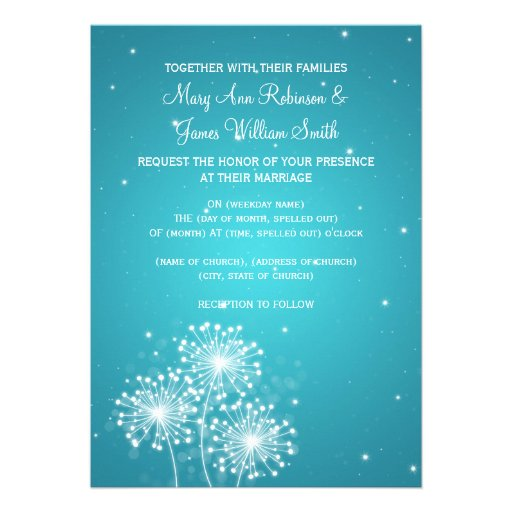 Elegant Wedding Summer Sparkle Turquoise Personalized Announcement