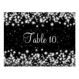 Elegant Wedding Table Number Winter Sparkle Black Postcard