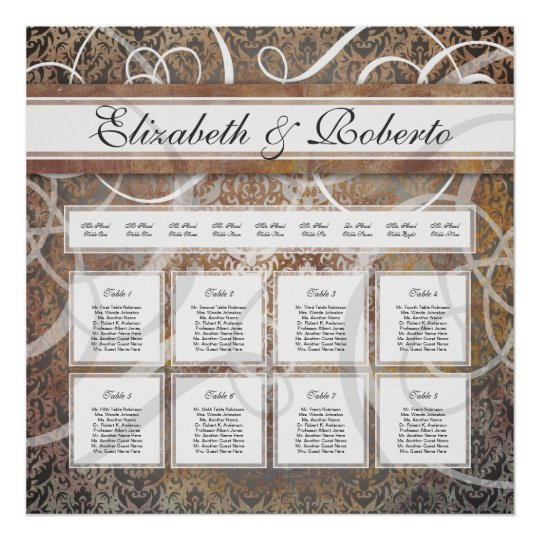 Elegant Wedding Table Seating Chart Tuscan Damask