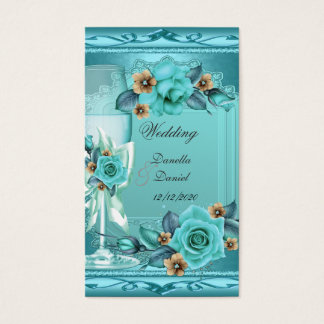 Elegant Wedding Teal Blue Beige Roses Flowers Business Card
