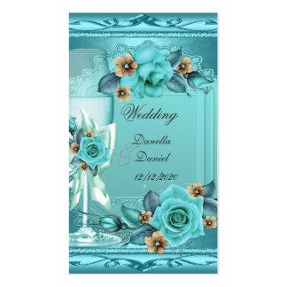 Elegant Wedding Teal Blue Beige Roses Flowers Pack Of Standard Business Cards