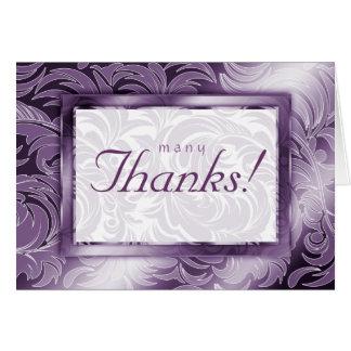 Elegant Wedding Thank You Cards Leaf Floral Purple