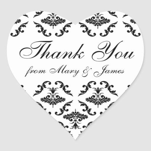 "Elegant Wedding ""Thank you"" Label Black Damask Heart Sticker"