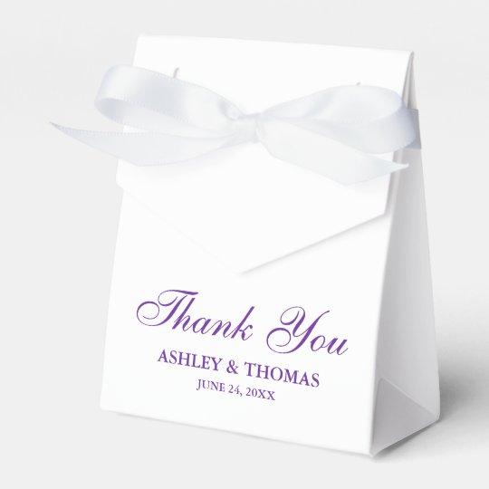Elegant Wedding Thank You White and Purple Bowed Favour Box